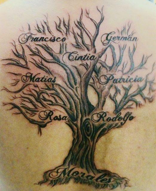 Family Tree Tattoo On Back