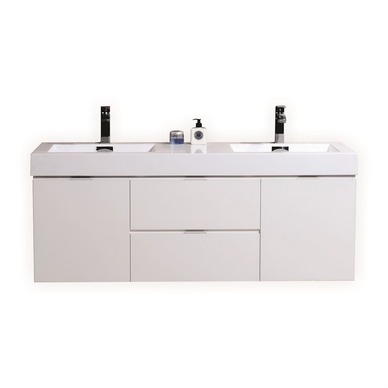"""BLISS 60"""" HIGH GLOSS WHITE WALL MOUNT DOUBLE SINK VANITY"""