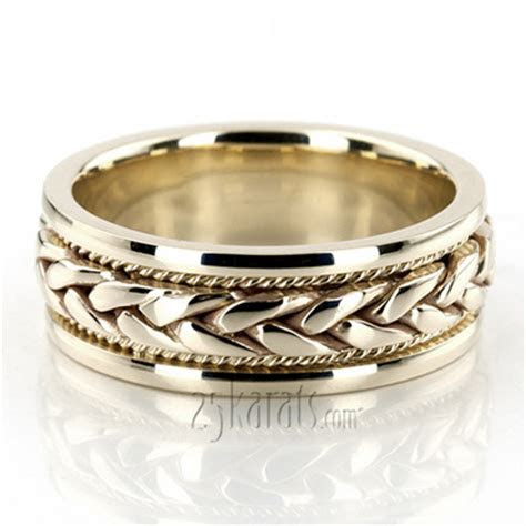 Hand Made Wedding Bands   Braided Two Tone Wedding Bands