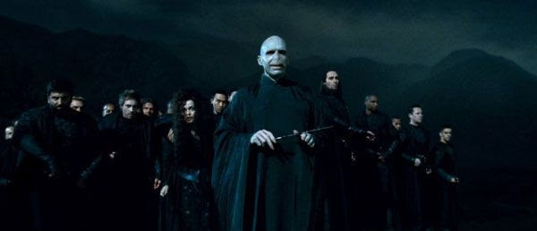 Lord Voldemort and his minions in HARRY POTTER AND THE DEATHLY HALLOWS, Part 2.