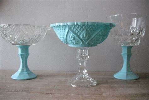 3 upcycled Tiffany blue Wedding candy buffet dishes