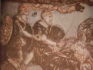 Daci luptând - basorelief de pe Columna lui Traian (Imagine: Mediafax.ro)
