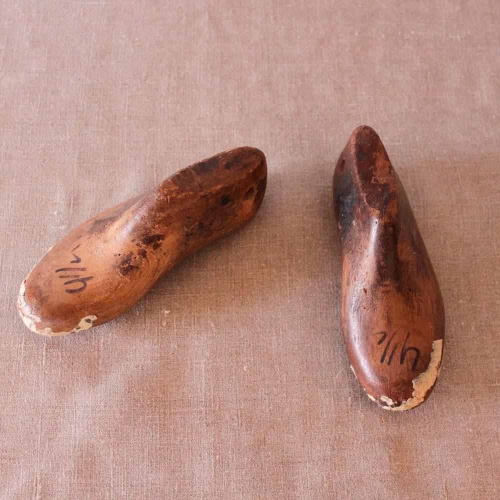 Patina Antique Childrens shoe forms , home decor