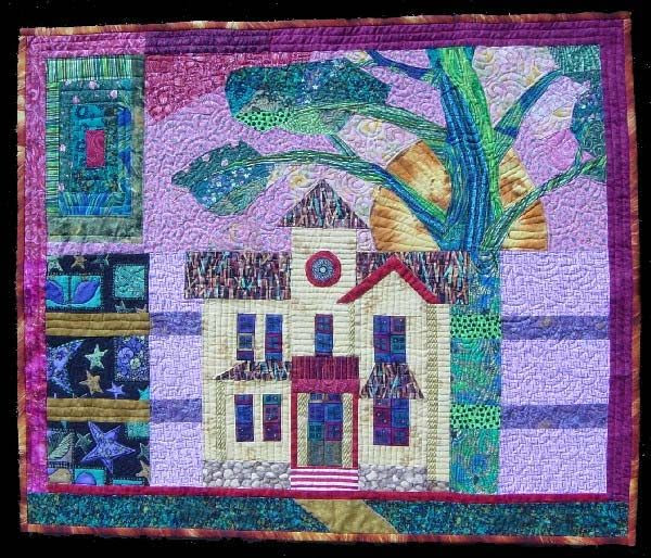 """Dream House"" is an art quilt in response to Winchester Artists Network 2005 challenge to create a donated theme work to be sold at auction. From the artist: ""A dream house means many things to many people. I hope the images in this quilt are a stimulus to consider what it means to you."""