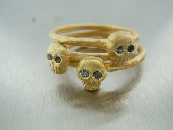 Black Diamond Stackable Skull Ring