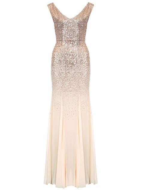 Champagne V Neck Chiffon Fishtail Maxi Dress   Quiz