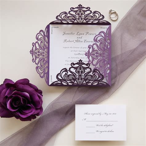 affordable purple laser cut wedding card EWWS056 as low as