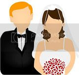 Free elegant wedding clipart of new bride and groom at the altar.