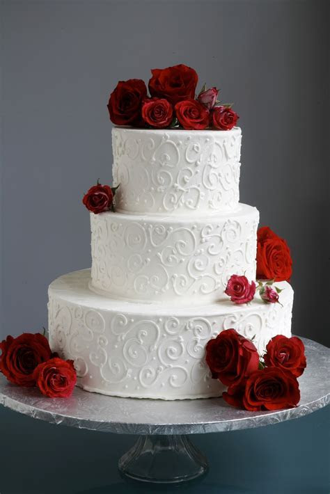 A Simple Cake: Wedding Cake with Fresh Flowers  From