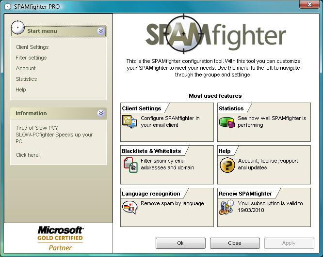 برنامج SPAMfighter 7.6.30 لفلترة البريد الإلكترونى الغير مرغوب فيه والمزعج (السبام)