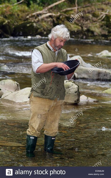 Gold Panning Prospecting Wales Stock Photos & Gold Panning