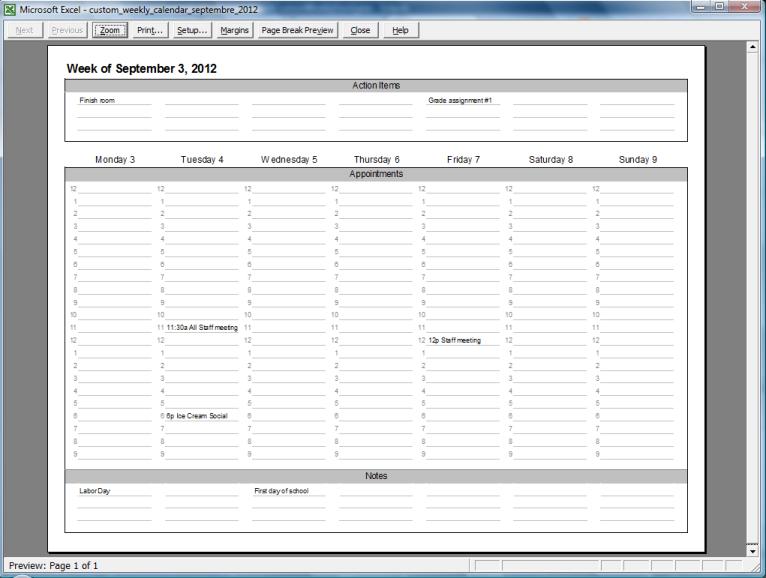 Custom Weekly Printable Calendar - CalendarsQuick