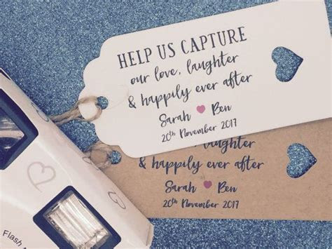 Disposable Camera Favour Gift Tags, Wedding Favour