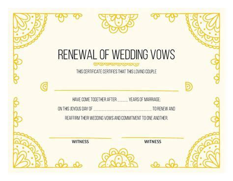 Free Printable Hand Drawn Gold Certificate of Vow Renewal