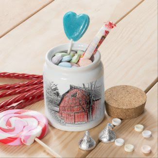 Gorgeous Red Barn Candy Jars