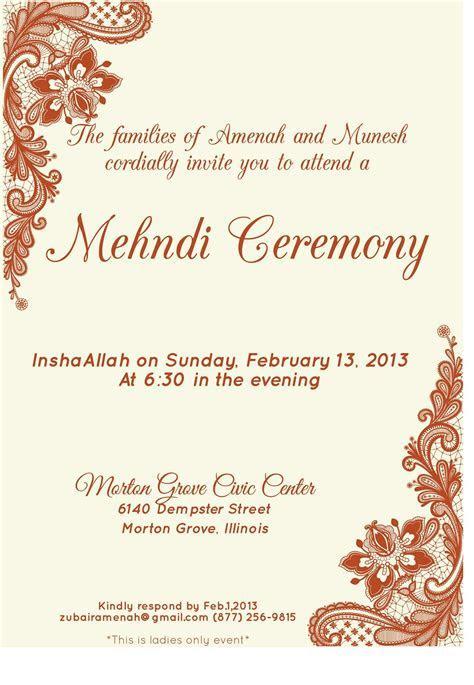 Mehndi Invitation Samples