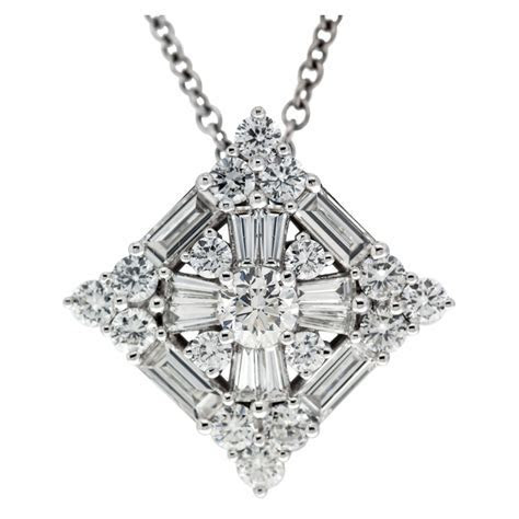 Square Pendant with Round and Baguette Diamonds