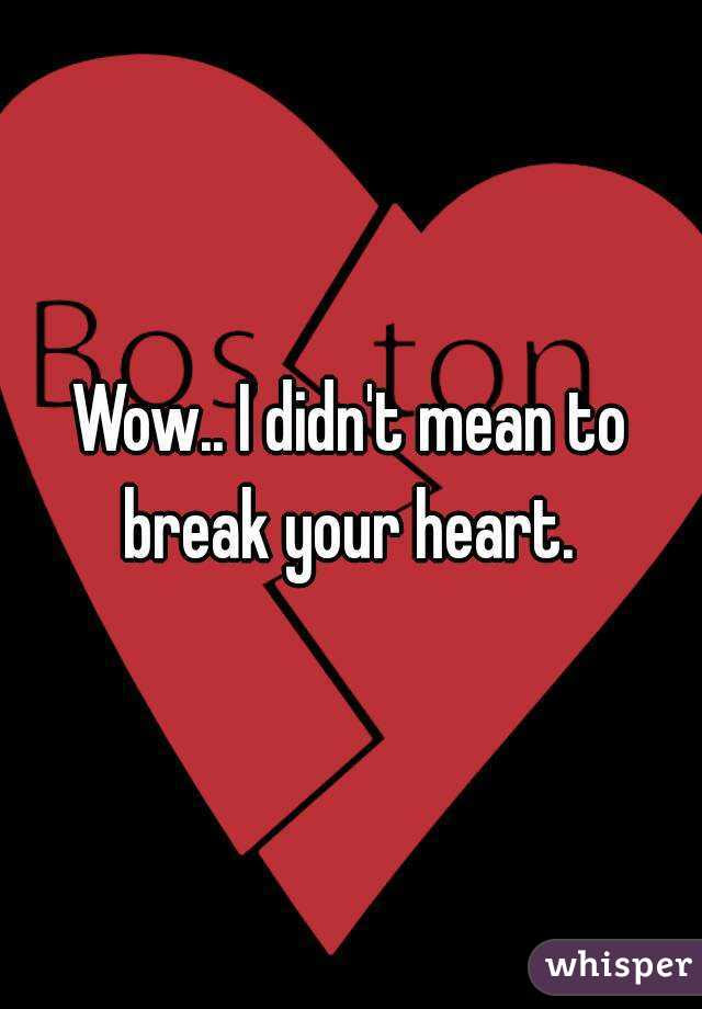 Wow I Didnt Mean To Break Your Heart