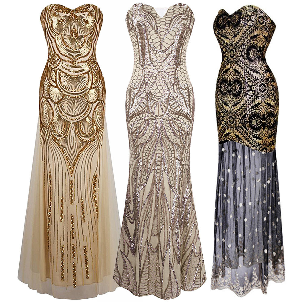 1920s strapless dress deco great gatsby vintage sequin