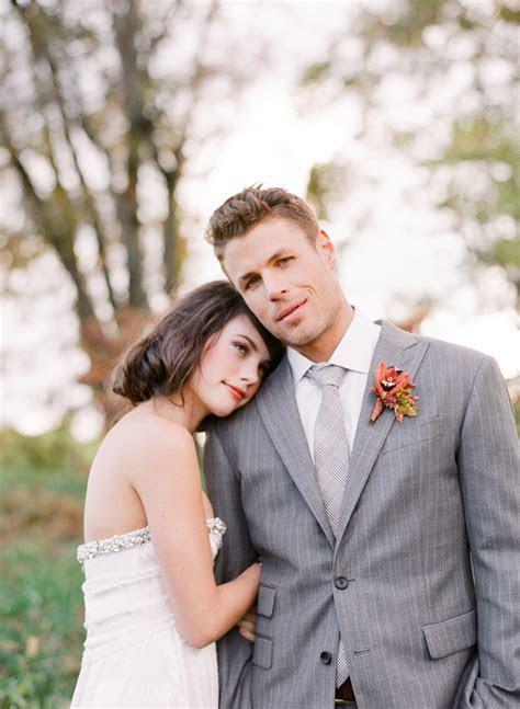 fall wedding groom gray pinstripe suit glen plaid tie
