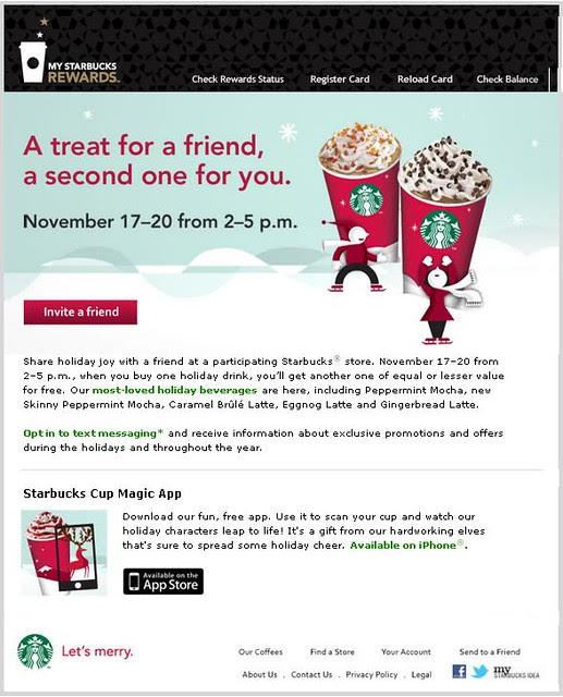 2011-Nov-17 to 20 - 2-for-1 at Starbucks