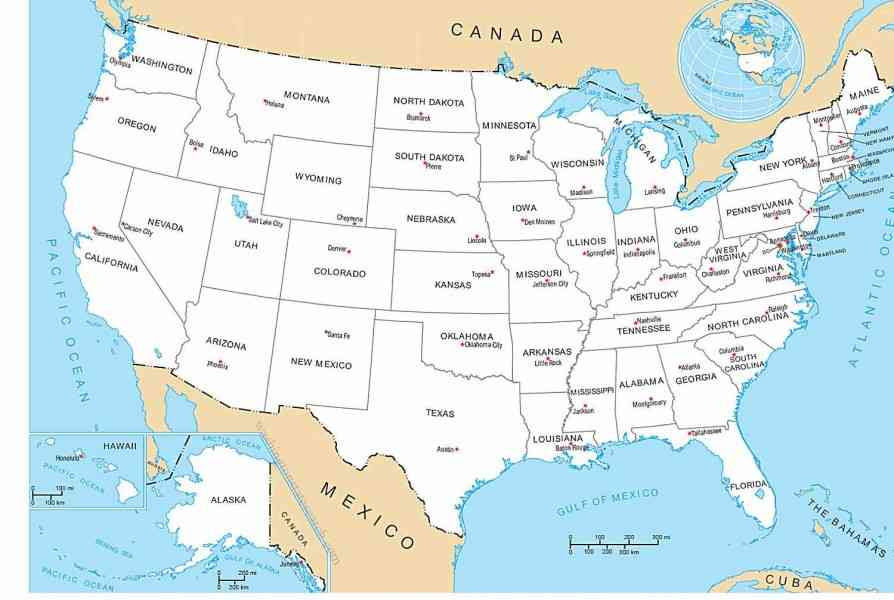 Usa Map States And Capitals