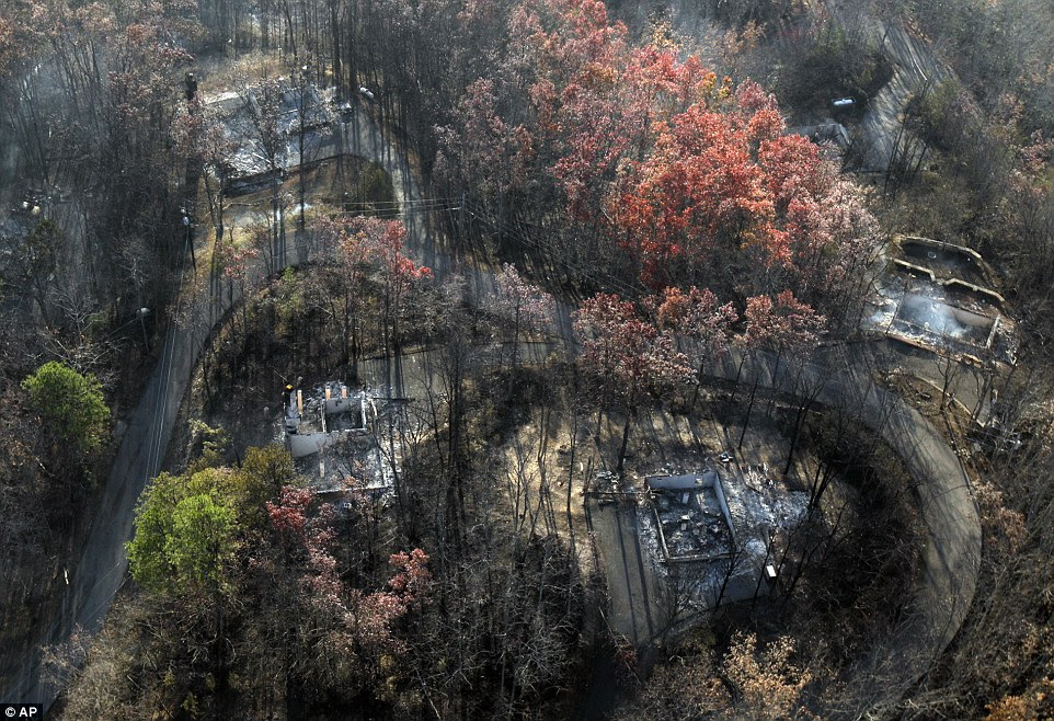 Another aerial reveals houses burned to the ground by the wildfires which swept through Gatlinburg last night