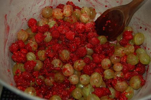 raspberry and gooseberry jam July 13