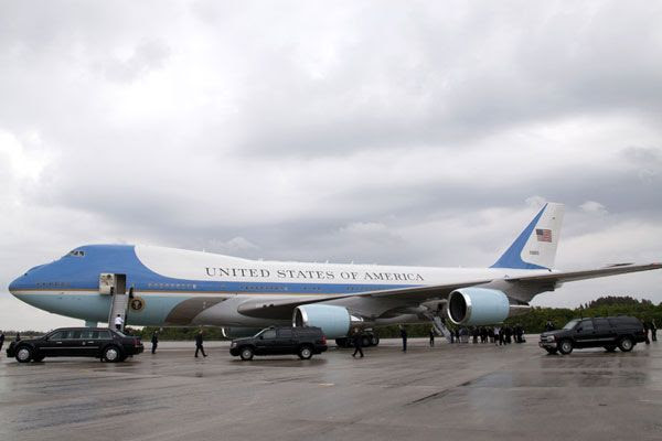 During Obama's visit, Air Force One is parked at Kennedy Space Center's Shuttle Landing Facility, on April 15, 2010.