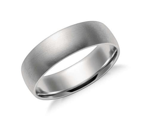 Matte Mid weight Comfort Fit Wedding Band in Platinum (6mm