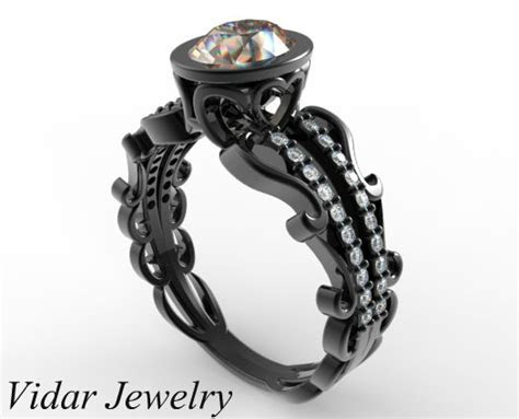 Black Gold Morganite Engagement Ring   Vidar Jewelry