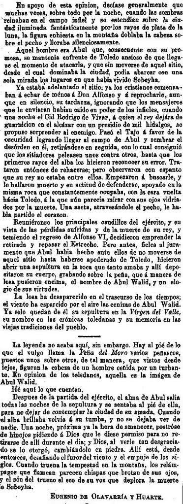 Leyenda de La Peña del Moro publicada en La Amérca por Eugenio de Olavarria y Huarte. Página 18