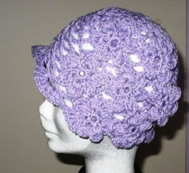 Crochet PATTERN - Stylish Violet Flower Hat