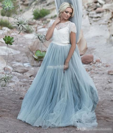 Discount Light Blue Wedding Dresses White Lace Sheer