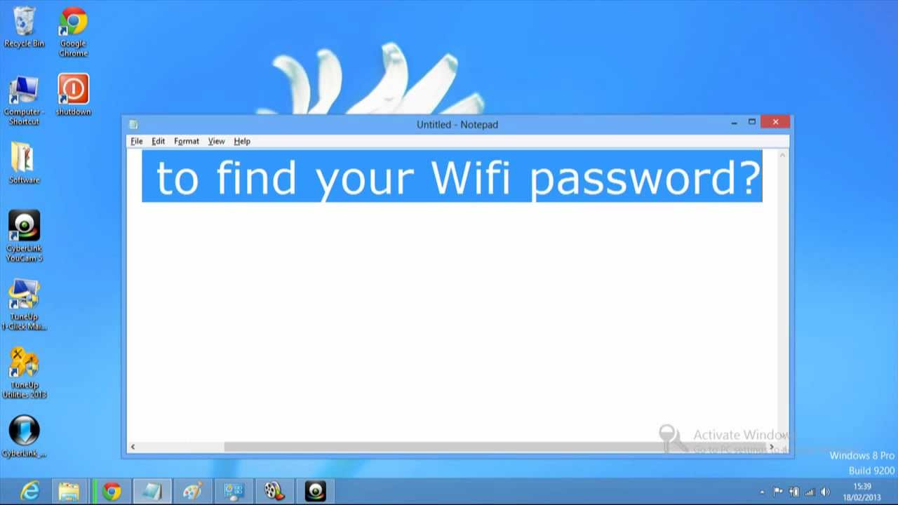 how to find your wifi password on windows 8 - YouTube
