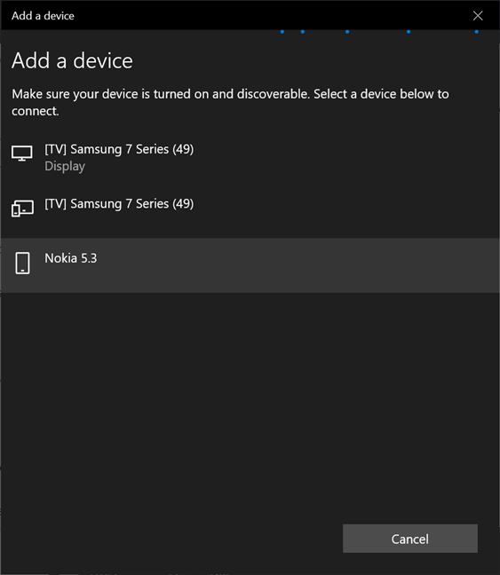 Busque su teléfono en la lista de dispositivos que puede conectar a Windows 10
