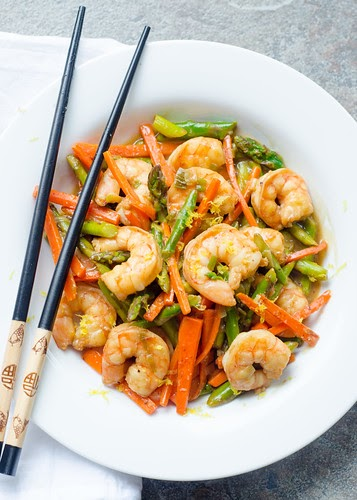Shrimp and Asparagus Stir-Fry in Lemon Sauce