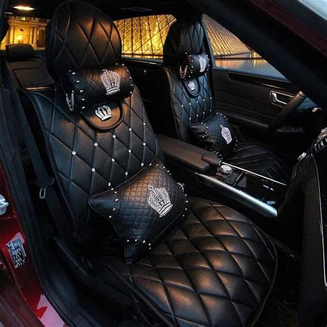 Black Leather Car Seat cover with Rhinestone bling Crown