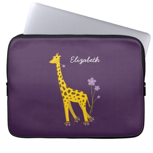 Purple Skating Funny Cartoon Giraffe Personalized Laptop Computer Sleeves