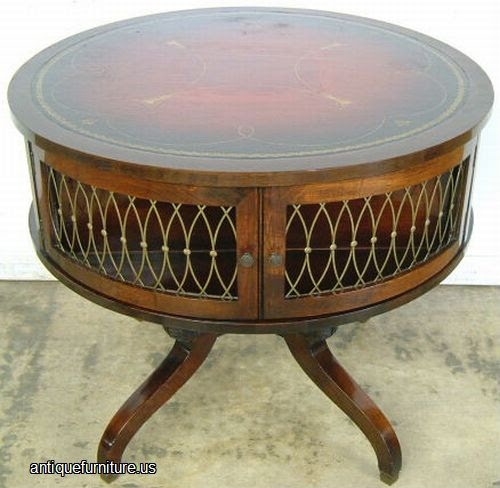 Antique Mahogany Leather Top Drum Table at Antique ...
