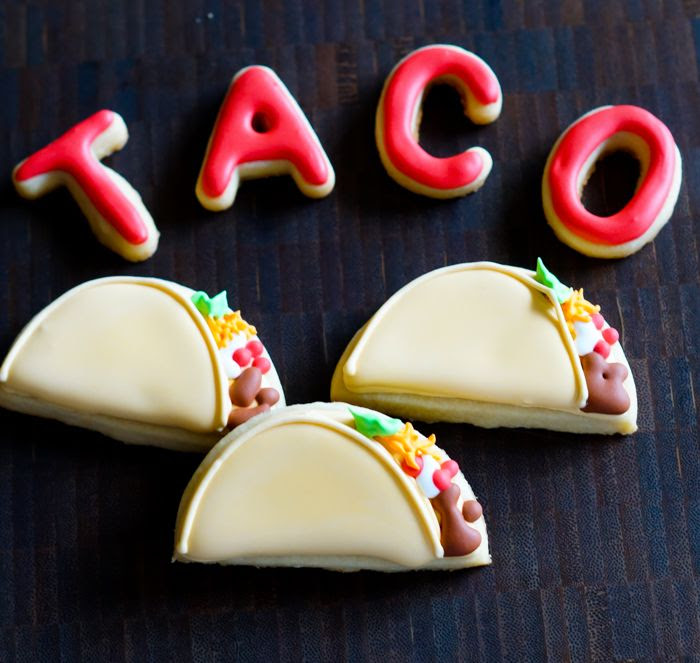 decorated tacos and taco belle cookies : fun cookie tutorial from bakeat350.blogspot.com