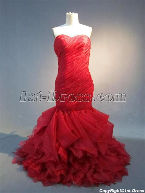 Romantic Red Mermaid Organza Wedding Dress IMG 3889:1st