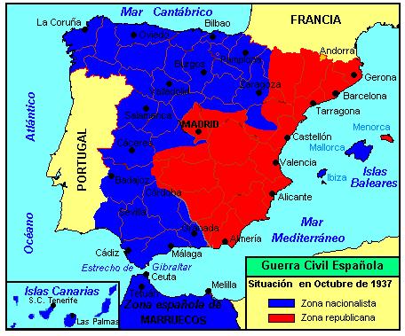 Resultado de imagen de mapa guerra civil española