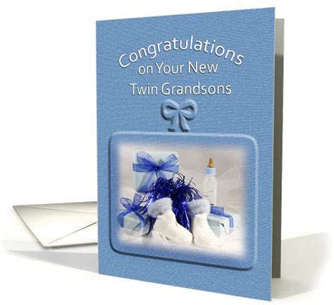 For Twin Grandsons Congratulations Greeting Card Baby