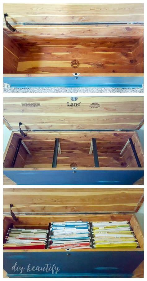 diy home filing system   blanket chest  trunk