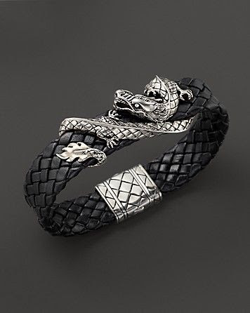 John Hardy Men's Sterling Silver Dragon Woven Black Leather Bracelet