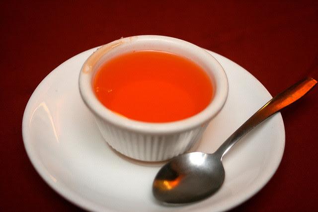 Dessert is a simple orange jelly