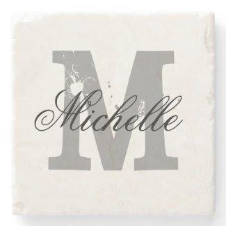 Elegant personalized monogram letter stone coaster