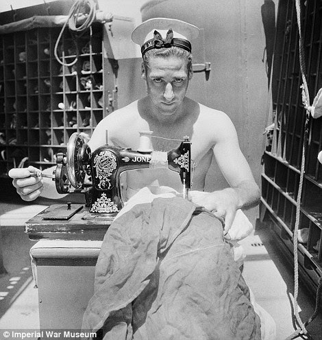 Make do and mend: A sailor on board HMS Alcantara uses a portable sewing machine to repair a signal flag on a voyage to Sierra Leone, while a British sailor on shore leave in Harrogate looks natural in front of the camera in 1941