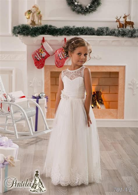 2016 Little White Flower Girls Dresses Crew Lace Kids